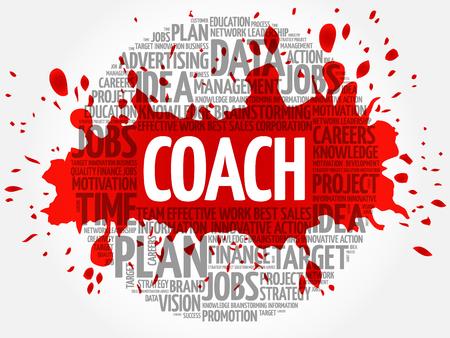 mentors: Coach word cloud, business concept Illustration