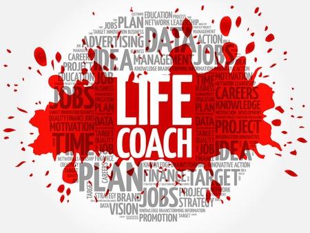 career coach: Life Coach circle word cloud, business concept