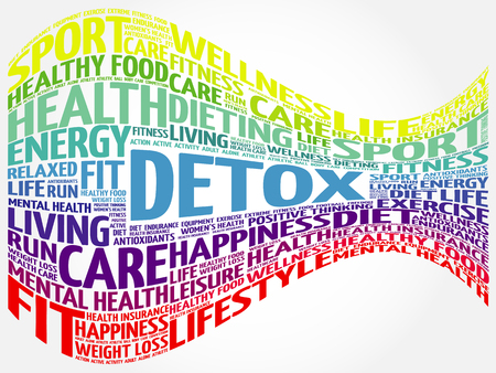 cleanse: DETOX word cloud background, health concept