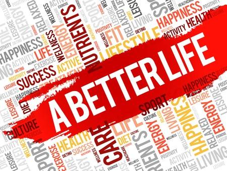 joyous: A Better Life word cloud, health concept Illustration