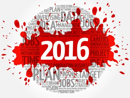 metrics: 2016 circle word cloud, business concept background