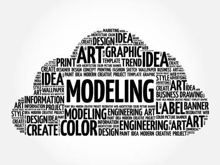 modeling: MODELING word cloud, creative business concept background Illustration
