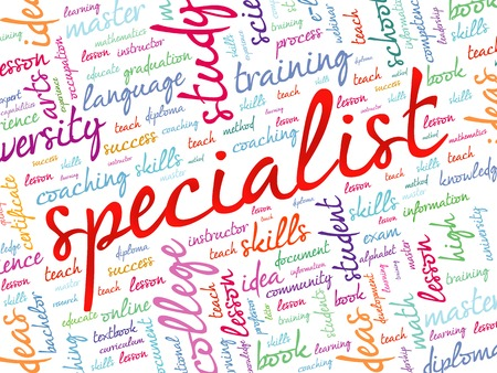 specific: SPECIALIST word cloud, education business concept background Illustration