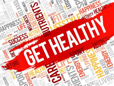 Get Healthy word cloud, health concept