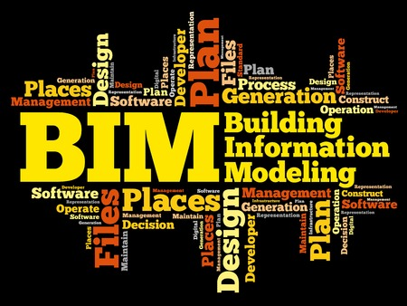 BIM - Building Information Modeling woord wolk, business concept Stock Illustratie