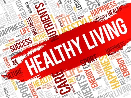 healthy living: Healthy Living word cloud, health concept Illustration