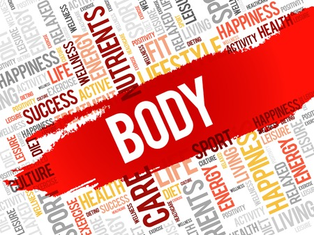 BODY word cloud background, health concept Illustration