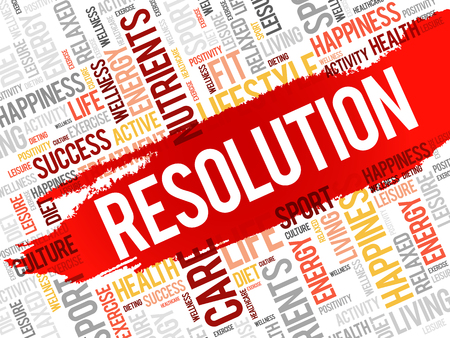 resolution: RESOLUTION word cloud, fitness, sport, health concept Illustration