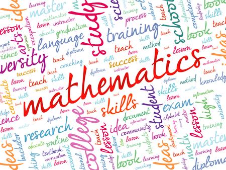 pedagogy: Mathematics word cloud, education concept background