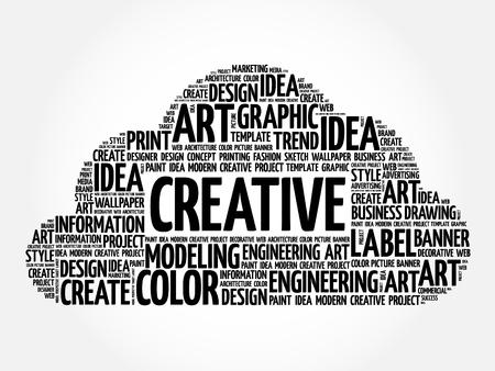 creative: CREATIVE word cloud, creative business concept background Illustration