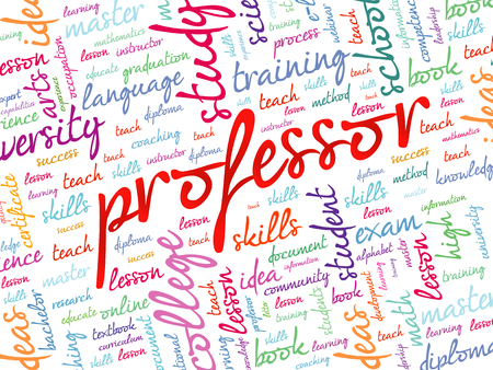 truthfulness: Professor word cloud, education concept background Illustration