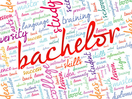 extramural: Bachelor word cloud, education concept background
