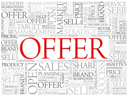 retailing: Offer word cloud, business concept background