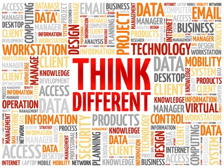 different courses: Think Different word cloud concept
