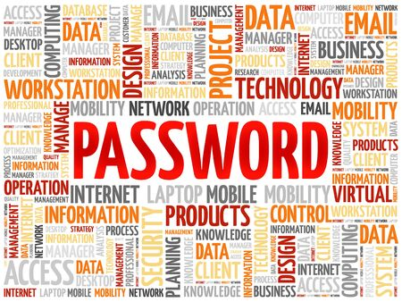 Password word cloud concept