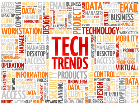 Tech Trends word cloud concept Banco de Imagens - 61286617