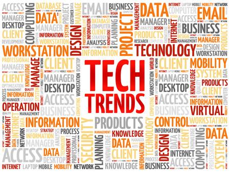 Tendenze Tech nuvola concetto di parola Archivio Fotografico - 61286617