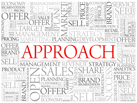 Approach word cloud, business concept background