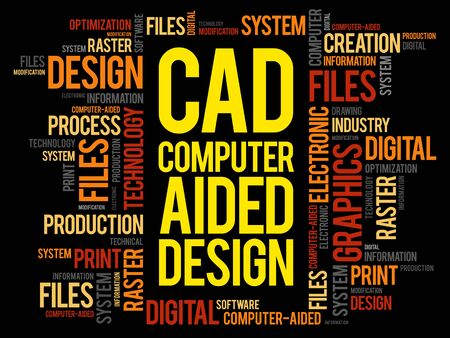 modification: CAD - Computer Aided Design word cloud, business concept background Illustration