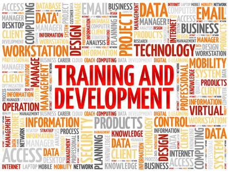 studing: Training and Development word cloud concept Illustration