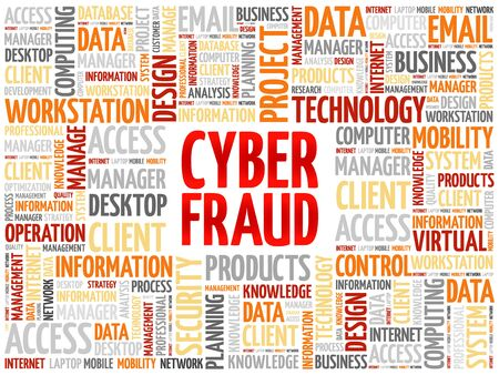fraud: Cyber Fraud word cloud concept Illustration