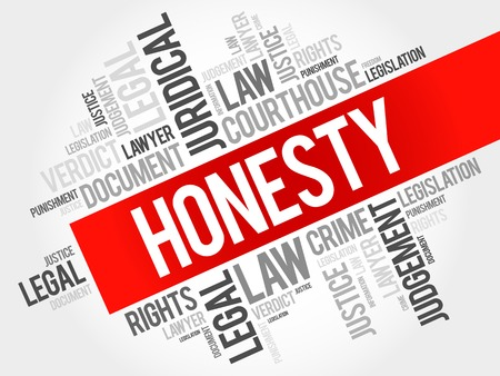 decency: Honesty word cloud concept Illustration