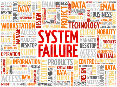 cybernetics: System Failure word cloud concept Illustration