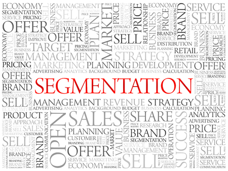regional product: Segmentation word cloud, business concept background Illustration