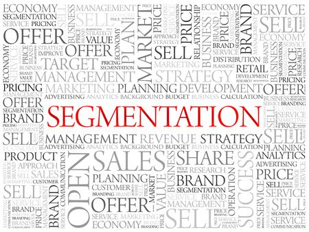 relationsip: Segmentation word cloud, business concept background Illustration