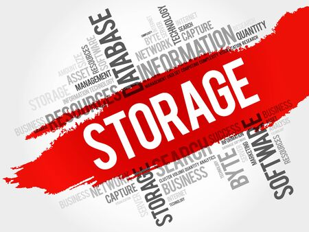 Storage word cloud, business concept Illustration