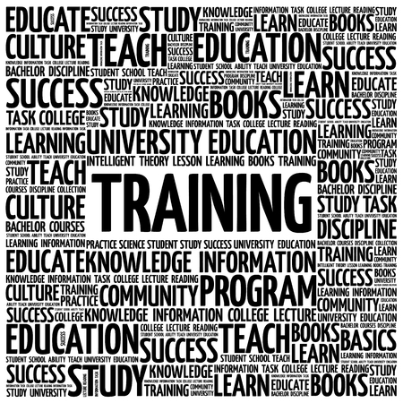 TRAINING word cloud, education concept background