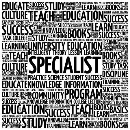 extensive: SPECIALIST word cloud, education business concept background Illustration
