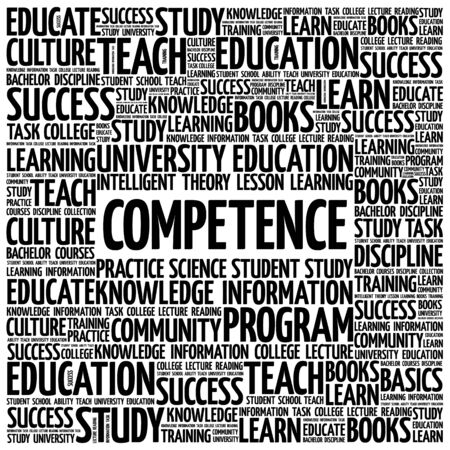 competent: COMPETENCE word cloud, business concept background