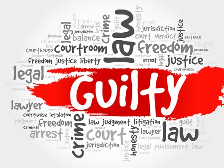 conviction: Guilty word cloud concept Illustration