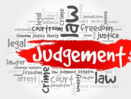 belief systems: Judgement word cloud concept Illustration