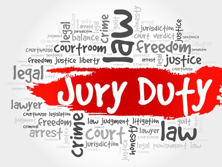 deliberations: Jury Duty word cloud concept Illustration