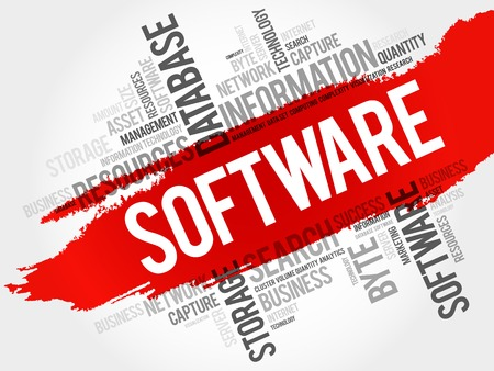 Software word cloud, business concept Illustration