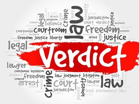 verdict: Verdict word cloud concept Illustration