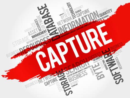 capture: Capture word cloud, business concept Illustration