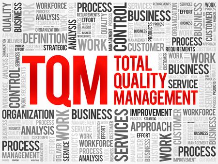 TQM - Total Quality Management word cloud, business concept background