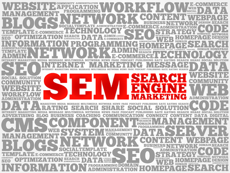 cloud search engine: SEM (Search Engine Marketing) word cloud business concept
