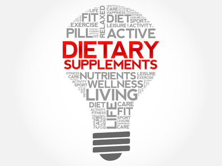 blends: Dietary Supplements bulb word cloud, health concept background
