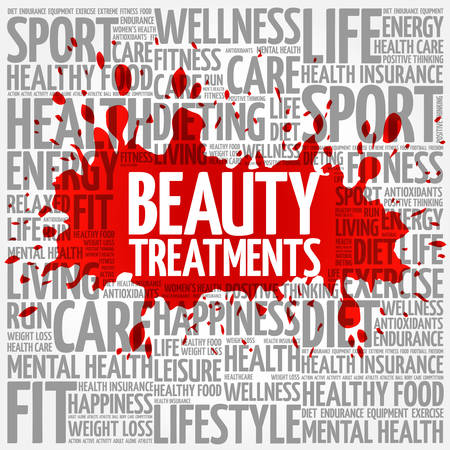spa collage: Beauty Treatments word cloud background, health concept Illustration
