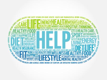 noticeable: HELP word cloud, fitness, sport, health concept