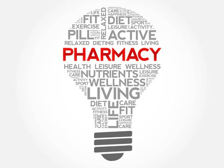 Pharmacy bulb word cloud, health concept background