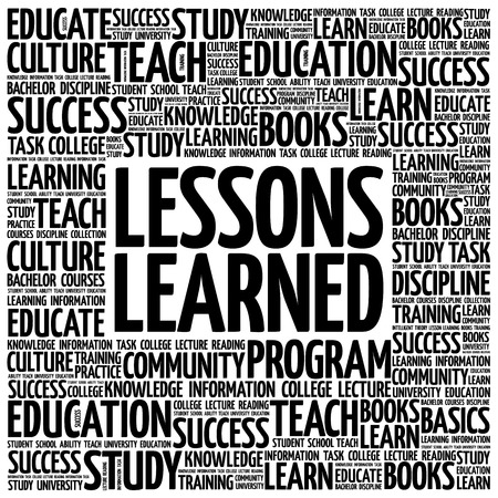 comparing: Lessons Learned word cloud, education concept background