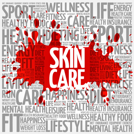 spa collage: Skin care word cloud background, health concept