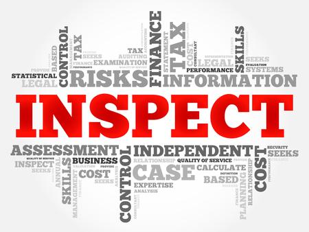 inspect: INSPECT word cloud, business concept