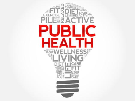 public health: Public Health bulb word cloud, health concept background