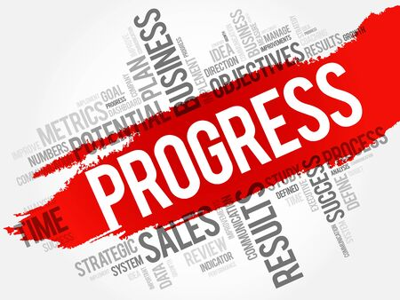 Progress word cloud, business concept background Illustration